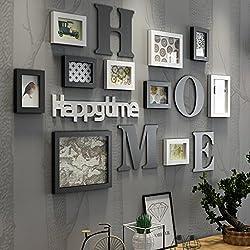 Cadre Photo organiser Collage de cadre photo Ensemble de bois massif Salon Cadre photo Cadre mural créatif Décoration murale de fond ( Couleur : Noir )