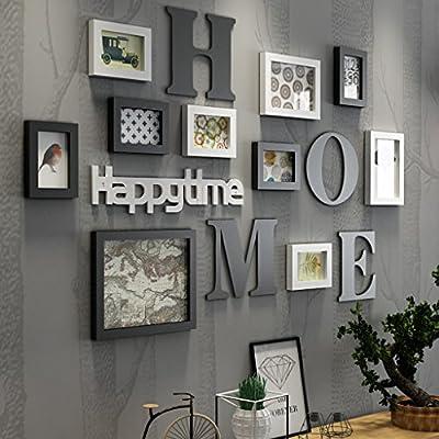 Cornice Portafoto Cornice fotogramma Collage in legno massiccio combinato soggiorno cornice cornice creativa ristorante sfondo decorazione della parete ( Colore : Nero )