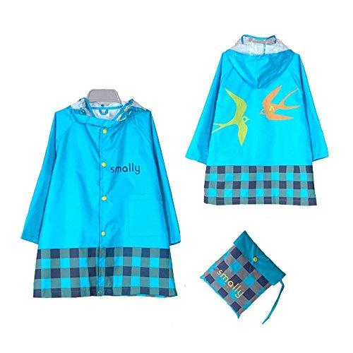 GIM Kinder Regenmantel Wasserdicht Regenponcho Regenjacke Regenwetter Schutz für Mädchen & Jungen Unisex 3-12 Jahre (Größe:XL, Blau)