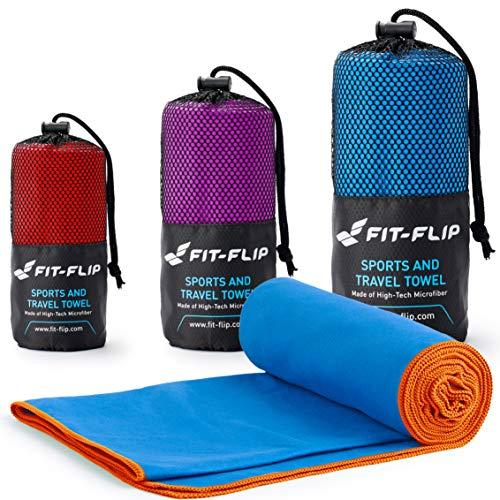 Fit-Flip Blau mit oragen Rand, 1x 200x100cm | microfaser handtücher Reise microfaser handtücher Haare microfaser Handtuch 200x100