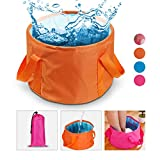 Collapsible Water Bucket Camp Bucket, NATUCE Ultralight Folding Wash Basin Carrying Pouch Travel Outdoor Camping Hiking Storage Pouch 15L - Orange