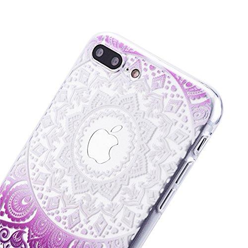 Für iPhone 7, Yokata Crystal Hülle Gradient Case Soft Weich TPU Silikon Gel Backcover mit Mandala Design Schutzhülle Cover Klar Transparent Skin Schutz Schale Protective Cover - Lila Lila