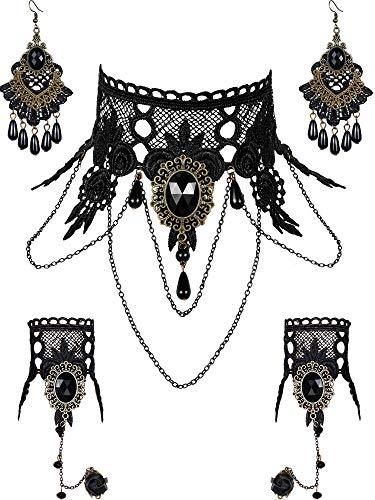 5 Stück Halloween Schwarze Spitze Choker Halskette und Vampire Style Ohrringe und Steampunk Spitze Armband für Mädchen und Frauen im Teenageralter (Stil Satz 2)