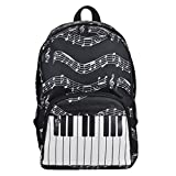 Piano Keyboard Printed Musical Note Men Women Girl Durable Oxford Cloth Backpack Rucksack Travel School Bag Regard