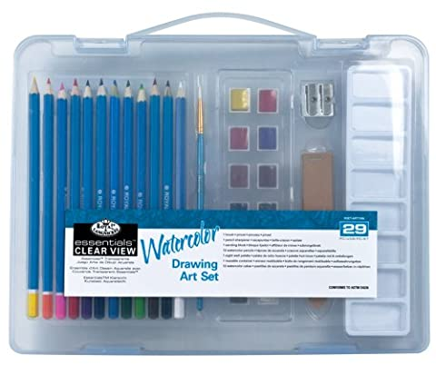 Royal & Langnickel Essentials Clear View Small Case Watercolour Drawing Art Set