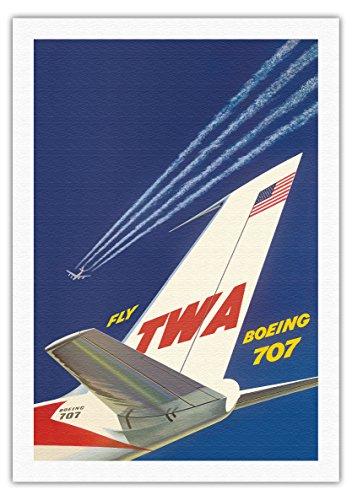 Pacifica Island Art Boeing 707 - Flieg TWA (Trans World Airlines) - Vintage Retro Fluggesellschaft Reise Plakat Poster von David Klein c.1960s - Kunstdruck auf Leinwand - 69cm x 102cm -