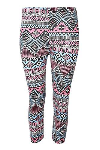 Be Jealous femme imprimé 3/4 leggings longueur femmes extensibles taille PANTALON SKINNY TAILLE 8-22 aztèque Cerise