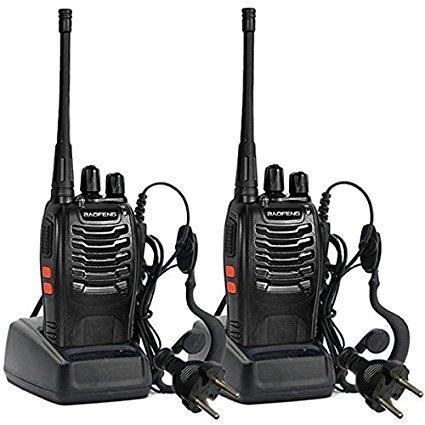 Preisvergleich Produktbild Funkgerät , Walkie-talkie UHF 400-470MHZ 2-Wege-Radio 16CH 5W Long Range Tranceiver Funksprechgerät Dual band Zweiwege ( 2PCS , Schwarz)