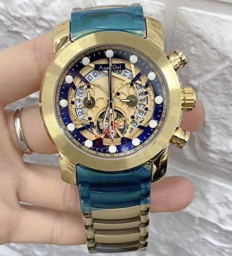 WDXDP Uhr Luxusmarke New Men Chronograph Stoppuhr Saphir Edelstahl Rose Gold Gelb Schwarz Luminous Skeleton Watch Sport Gold Blau