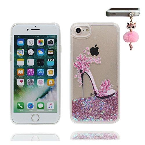 """iPhone 7 Coque, Skin Hard Clear étui iPhone 7, Design Glitter Bling Sparkles Shinny Flowing Apple iPhone 7 Case Cover 4.7"""", résistant aux chocs et Bouchon anti-poussière (Grand Flamant Durable) # 6"""