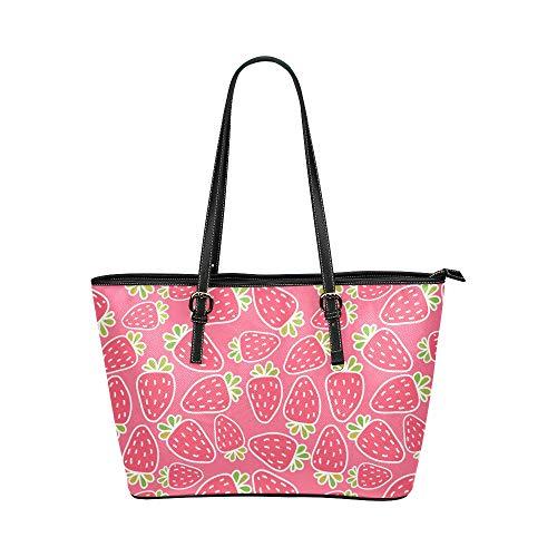 Frisches Dekor (Köstliche frische Erdbeer Rosa Dekor große weiche Leder tragbare Hand Totes Taschen kausalen Handtaschen mit Reißverschluss Schulter Einkaufstasche Geldbörse Gepäck Veranstalter die Arbeit von Lady)