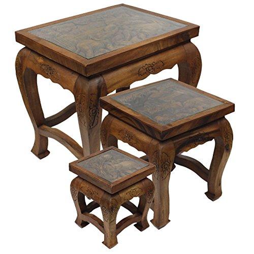 Geschnitzte Hocker (Deko-Tischchen Beistelltischchen Hocker Glastisch Nachttisch Opiumtisch mit Glas Schnitzereien Elefant Asien Hellbraun Braun ca. 23 cm)