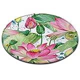 LB Tema Estivo,Fiori,Rosa,Verde_Rotondo Area Tappeto Soggiorno Camera da Letto Bagno Cucina Tappetino Decorazioni per la casa,100x100 CM