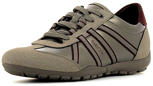 Geox D746DA Ravex Sportlicher Damen Sneaker, Schnürhalbschuh, Freizeitschuh, Snake, atmungsaktiv, Wechselfußbett Beige (DOVE GREY/TAUPE), EU 38