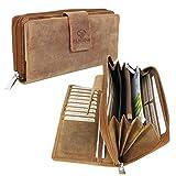 ALMADIH Leder Damen Portemonnaie P27 aus Rindsleder mit 26 Kartenfächern + Reißverschlussfach Braun Antik, Langbörse in Geschenkbox, Weihnachtsgeschenk Geldbörse Brieftasche Clutch (P27 Braun Vintage)