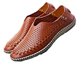Good* Fashion Summer Causal Shoes Men Loafers Genuine Leather Moccasins Men Driving Shoes High Quality Flats for Man Size 39-46 Brown with Holes 10
