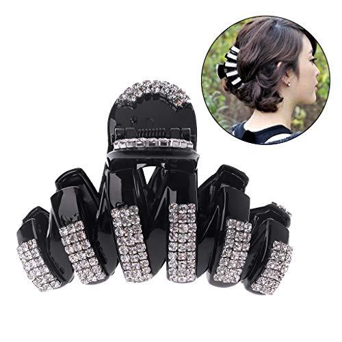 Cuigu Strass Hair Claw, Schwarze Dicke Haarspangen Elegante Große Haarnadel-Haar-Accessoires Mit Vollem Strass Für Frauen, 8.5×4.9×5.7cm