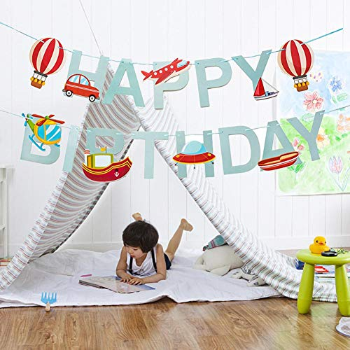 Bunting Pull Flag 3m Papier Cartoon Happy Birthday Brief Buntings Banner Wanddekoration Dekor Flaggen Muster für Auto Flugzeug Schiff Party