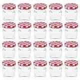 20 Einmachgläser mit Schraubdeckel - 50 ml, Glas/Metall, 4 x 4 x 4,5 cm (ØxH), 4-eckig, rot karierte Deckel