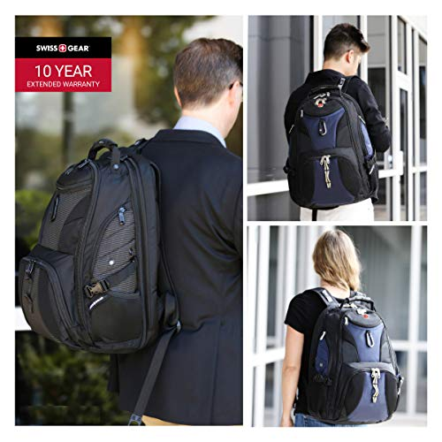 Best swiss gear backpack in India 2020 Swiss Gear Travel Scan Fabric Polyester Smart Backpack 1900 (Black/Blue) Image 7
