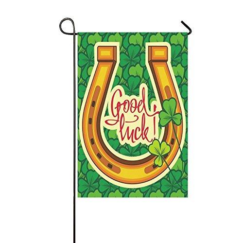 Leaf Shamrock Kleeblatt grün lange Polyester Garten Flagge Banner 30,5x 45,7cm Fahne Deko, viel Glück Zitat für Hochzeitstag/für Home Outdoor Garden Decor (Viel Glück-banner)