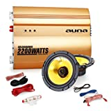 auna 2.0 Car HiFi Set Golden Race V2-6,5 Lautsprecher & Verstärker Auto Endstufe mit Boxen (2X 600W max. 16,5 cm Einbaulautsprecher, 2200W Verstärker, inkl. Kabelset) Gold