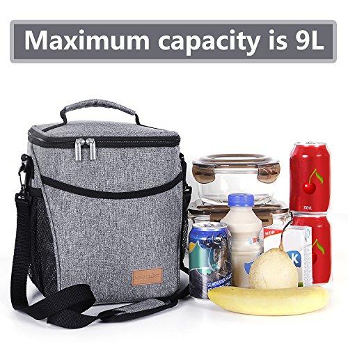 Lifewit Grey Lunch Bag With Adjustable Shoulder Strap For
