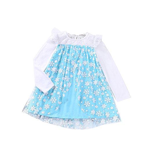 Das beste Kleine Mädchen Prinzessin Kostüm Fancy Kleider Rüschen Langarm Spitze Halloween Party (Fancy Kostüme Dress Handtaschen)