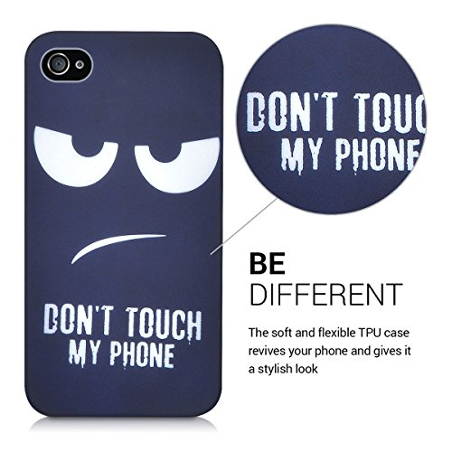 kwmobile Hülle für Apple iPhone 4 / 4S - TPU Silikon Backcover Case Handy Schutzhülle - Cover Don't touch my Phone Design Weiß Dunkelblau Don't touch my Phone Weiß Dunkelblau