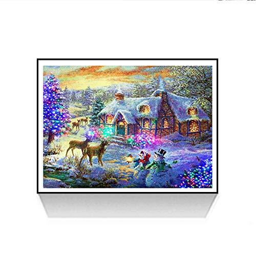 Painting Voll ,Stickerei Malerei Diamant Weihnachtsmann Muster Weihnachten Strass Stickerei Bilder Kunst Handwerk für Home Wall Decor gemälde Kreuzstich (Mehrfarbig L, 30 * 40cm) ()