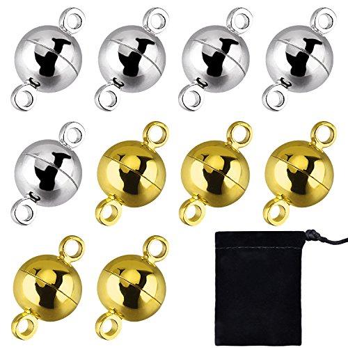 10 Stück Schmuck Magnetverschlüsse Runde Magnetverschlüsse für Armband Halskette Making, 8 mm (Gold und Silber)