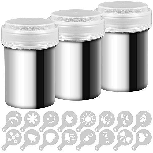 3barattoli dosatori in acciaio inox, per polveri, come caffè, cacao, ecc. tappo con fori dosatori, per cottura, casa, ristorante, con 16stampini inclusi