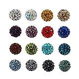 100pcs gemischte Farbe pflastern Disco-Kugel-Korne, 10mm Lehmrhinestone-Kristall Shamballa Korne