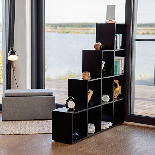 Liste de prix Relaxdays Etagère escalier 10 compartiments bibliothèque escalier armoire séparateur pièce, noir