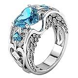 Damen Ring, HUIHUI Natürliche Rubin Edelsteine Birthstone Wedding Engagement Herz Ringe Prinzessin O-Ringe Nagel Finger Band für Damen Mädchen (17.3, Himmelblau)