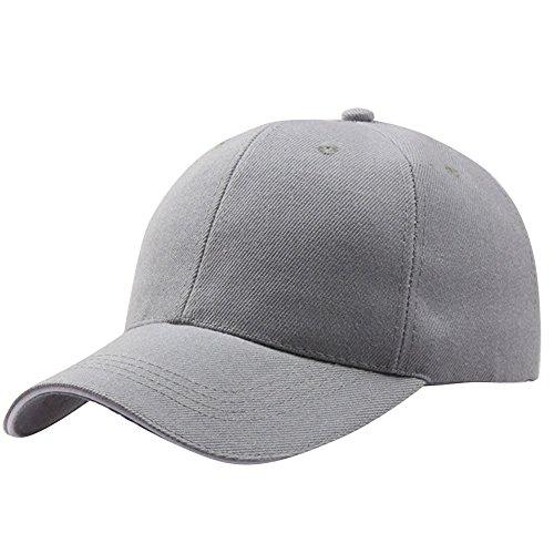 VECOLE Run Cap Vollfarbige Hip-Hop-Baseballkappe für Draussen, Sport und Reisen (Grau)