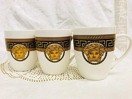 Unbekannt Medusa Cappuccino Set Kaffee Becher für 6 Personen Tassen Geschirr Porzellan (V1)