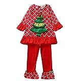 Hikfly 2pcs Dessin animé Manche longue Ensemble de vêtements rouge arbre de Noël pour bébé fille enfant en bas âge Cadeau de fête de noël Show (haut + pantalon) (Rouge, 90/M)