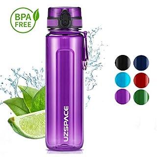 Uzspace Trinkflasche -auslaufsichere Ttitan Wasserflasche | 1000 ml | BPA- Frei Sportflasche ? Uni -Schule - Fahrrad - Spaziergang - Sport