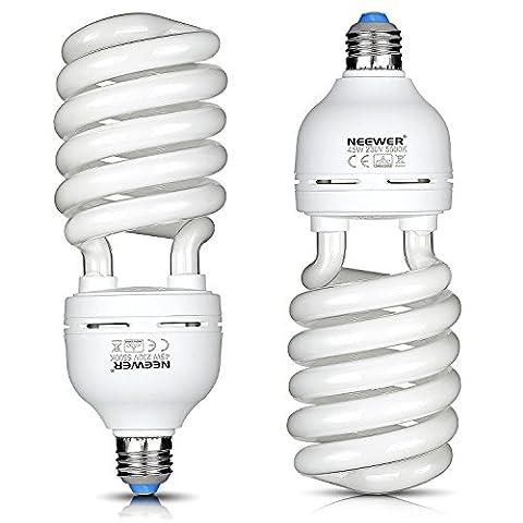 Neewer® 45W 220V 5500K tri-phosphor Ampoule spirale CFL ampoule lumière du jour équilibré en Douille E27Pour Éclairage Studio Photo et Vidéo (Lot de 2)