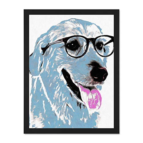 Doppelganger33 LTD Labrador In Spectacles Wall Art Large Framed Art Print Poster Wall Decor 18x24 inch Supplied Ready to Hang