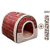 Cama/Caseta Perro Gato Interior 2 en 1, Casa Mascota Grande o Pequeño, Lavable Plegable Portátil, Cueva de Viaje para Perros Medianos Pequeños y Gatos (L:60cmx45cmx45cm, rojo)