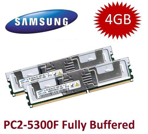 2x 2GB DDR2 667Mhz PC2-5300F 240pin, ECC Fully Buffered, Dual Rank 2Rx4, 1.8V, CL5 -