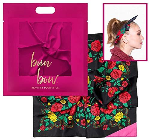 Pony Puffin Haartuch - Bun Bow Schwarz Rot Floral Kopfband Nickituch Schleifentuch Seidenmatte Optik 50 x 50 cm Bandana Seidentuch -
