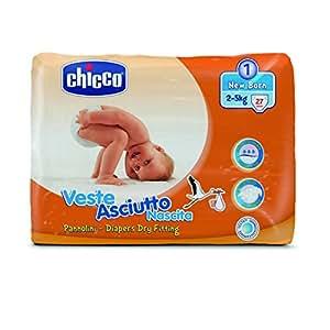 Chicco Veste Asciutto Newborn, 27 Pannolini, Taglia 1 (2-5 kg)