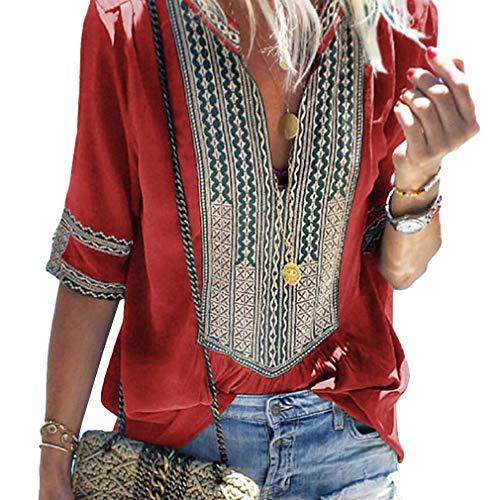 4483af4696 Blusa Mujer Boho V Cuello 3 4 Clásico Manga con Estilo Top Camisas Verano  Vintage Moda