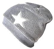 Wollhuhn Warme Beanie-Mütze/Babymütze grau mit weißen Sternen, Wellnessfleece, für Jungen und Mädchen, 20160902, Größe XXS: KU 36/40 (bis ca 6 Mon.)