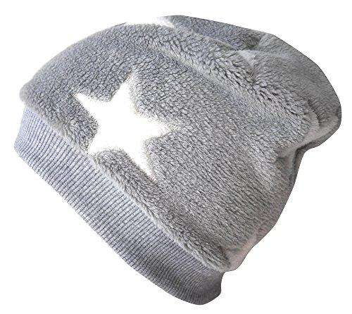 WOLLHUHN Warme Beanie-Mütze / Babymütze grau mit weißen Sternen, Wellnessfleece, für Jungen und Mädchen, 20160902, Größe XXS: KU 36/40 (bis ca 6 Mon.)