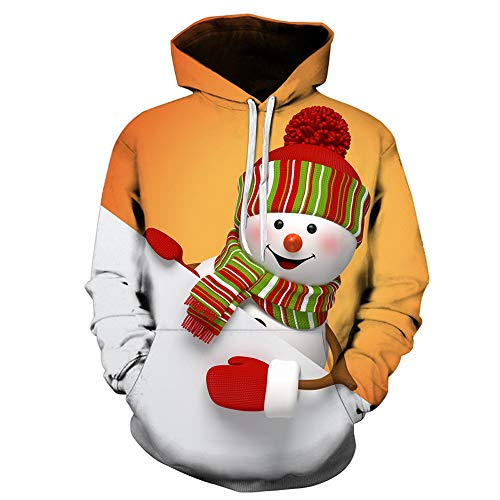serliyWeihnachtspullover Herren 3D Druck Kapuzenpullover Unisex Long Sleeve Weihnachten Hoodie Sweatshirt Christmas Sweater Taschen Pulli Kaputzenpullover Freizeit Jumper Tops