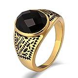 Aidsaer Ring Gold Modeschmuck Männer Ringe Muster Oval Black Zirkonia Breite 15 mm Ringgröße 54 (17.2) Hochzeit Band,Mein Herz Schlägt Deinen Takt, Ring Für Herrn
